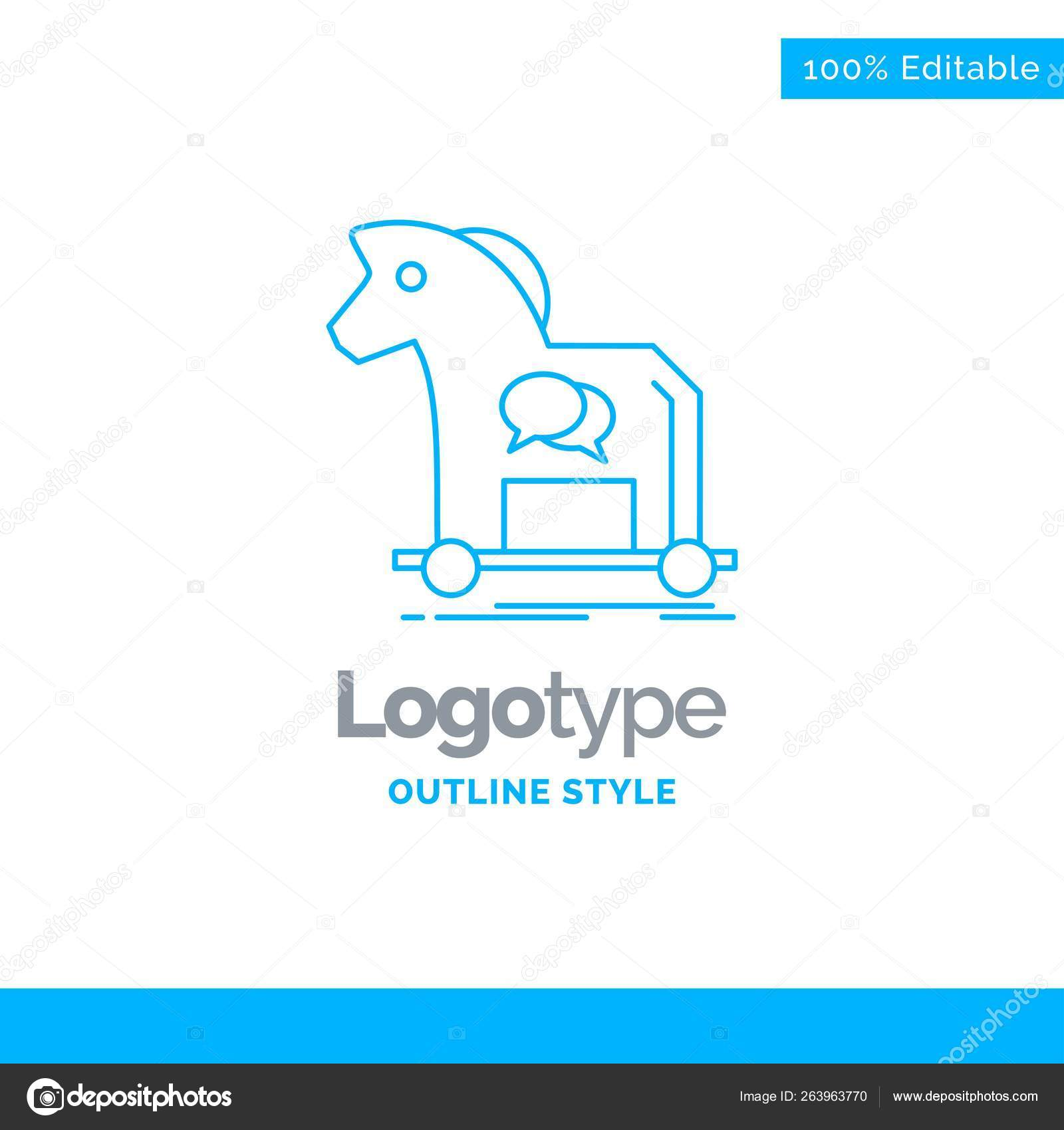Blue Logo Design Cybercrime Horse Internet Trojan Virus Business Concept Stock Vector C Flatart 263963770