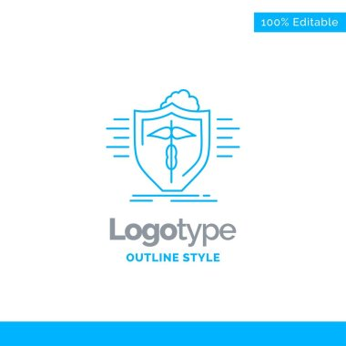 Blue Logo design for insurance, health, medical, protection, safe. Business Concept Brand Name Design and Place for Tagline. Creative Company Logo Template. Blue and Gray Color logo design 100% Editable Template.