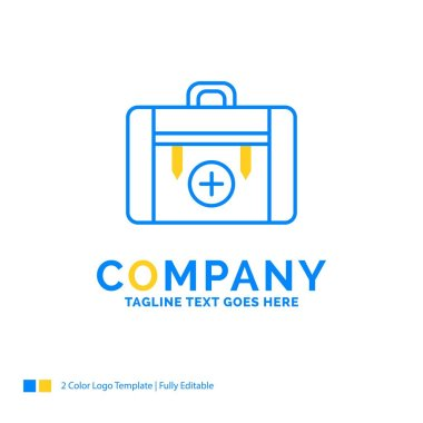 bag, camping, health, hiking, luggage Blue Yellow Business Logo template. Creative Design Template Place for Tagline.