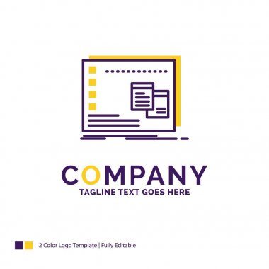 Company Name Logo Design For Window, Mac, operational, os, program. Purple and yellow Brand Name Design with place for Tagline. Creative Logo template for Small and Large Business. icon