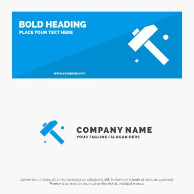 Construction, Hammer, Tool SOlid Icon Website Banner and Busines