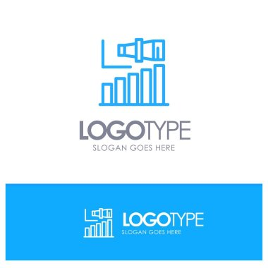 Business, Long, Modern, Term, Vision Blue outLine Logo with plac