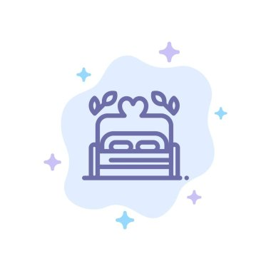 Bed, Love, Heart, Wedding Blue Icon on Abstract Cloud Background