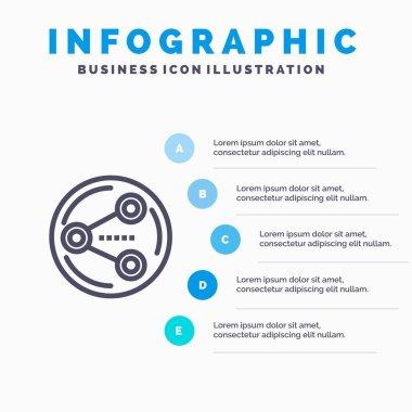 Share, Sharing, Social, Media Blue Infographics Template 5 Steps