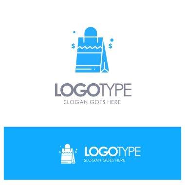 Bag, Handbag, Usa, American Blue Solid Logo with place for tagline icon