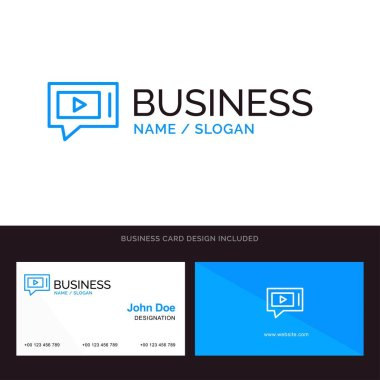 Chat, Live, Video, Service Blue Business logo and Business Card