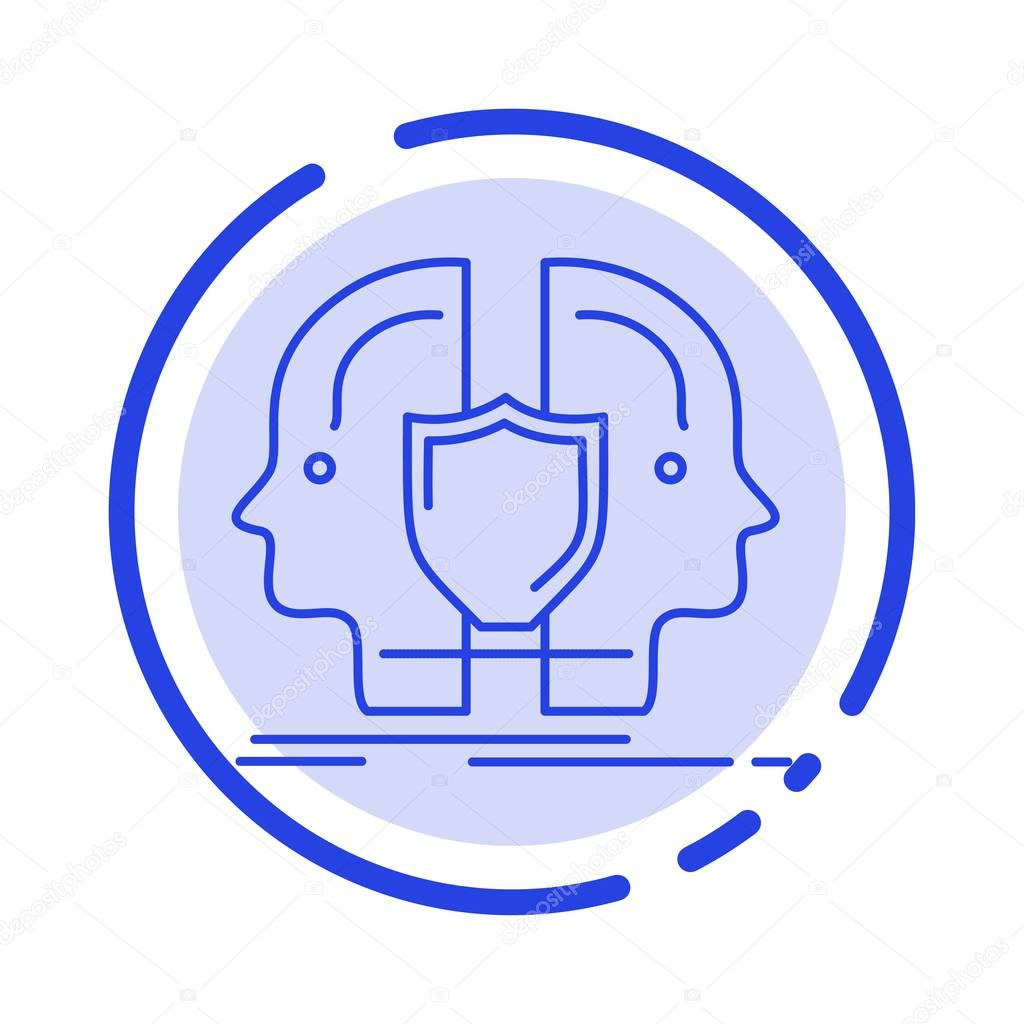 man face dual identity shield blue dotted line line icon premium vector in adobe illustrator ai ai format encapsulated postscript eps eps format wdrfree