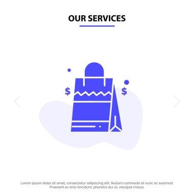 Our Services Bag, Handbag, Usa, American Solid Glyph Icon Web card Template icon
