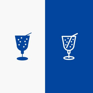 Beach, Drink, Juice Line and Glyph Solid icon Blue banner Line a