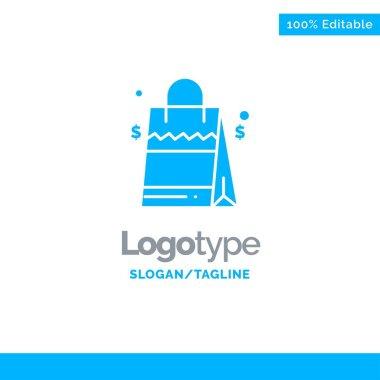 Bag, Handbag, Usa, American Blue Solid Logo Template. Place for Tagline icon