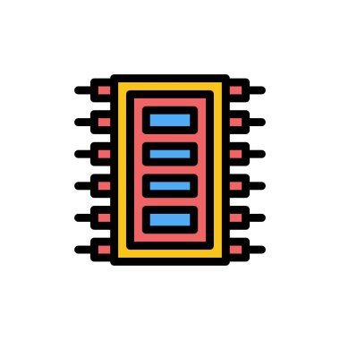 Tech, Hardware, Chip, Computer, Connect  Flat Color Icon. Vector