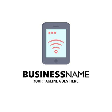 Mobile, Sign, Service, Wifi Business Logo Template. Flat Color