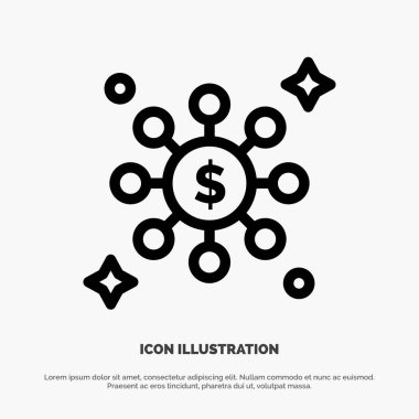 Dollar, Share, Network Line Icon Vector