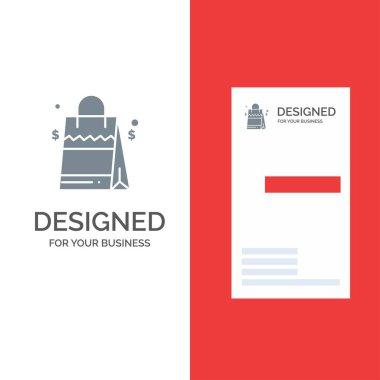 Bag, Handbag, Usa, American Grey Logo Design and Business Card Template icon