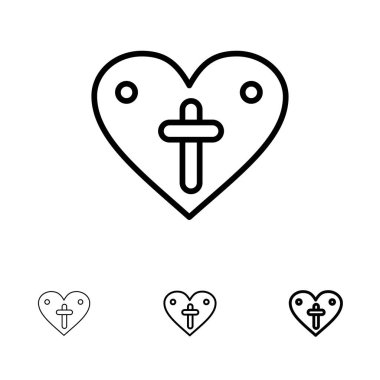 Heart, Love, Easter, Loves Bold and thin black line icon set