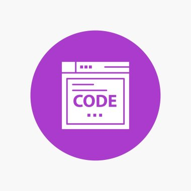 Browser, Internet, Code, Coding white glyph icon