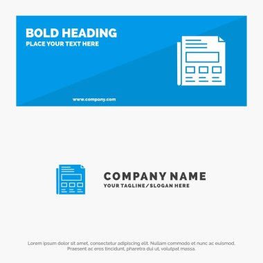 Report, Paper, Sheet, Presentation SOlid Icon Website Banner and