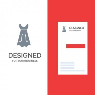 Dress, Girl, Wedding Grey Logo Design and Business Card Template