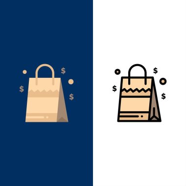 Bag, Handbag, Usa, American  Icons. Flat and Line Filled Icon Set Vector Blue Background icon