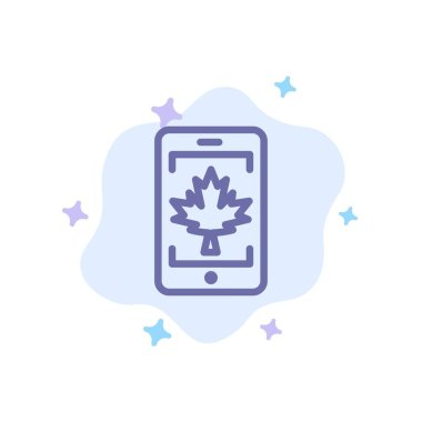 Mobile, Cell, Canada, Leaf Blue Icon on Abstract Cloud Backgroun
