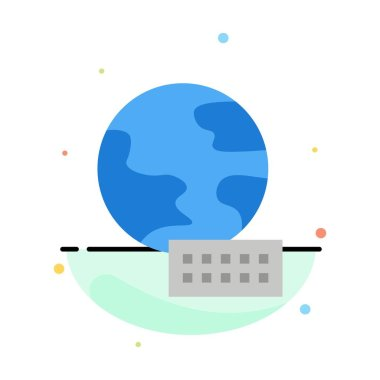 World, Globe, Marketing Abstract Flat Color Icon Template