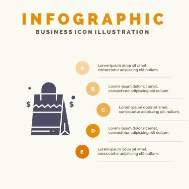 Bag, Handbag, Usa, American Solid Icon Infographics 5 Steps Presentation Background icon