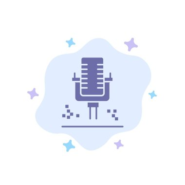 Mic, Microphone, Professional, Recording Blue Icon on Abstract C