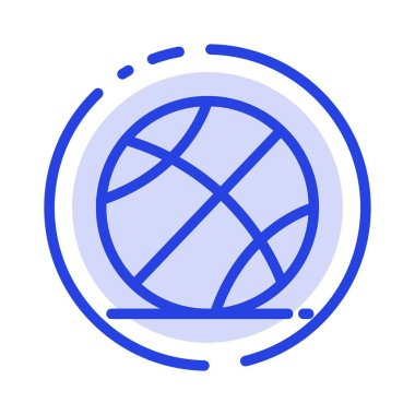 Ball, Sports, Game, Education Blue Dotted Line Line Icon
