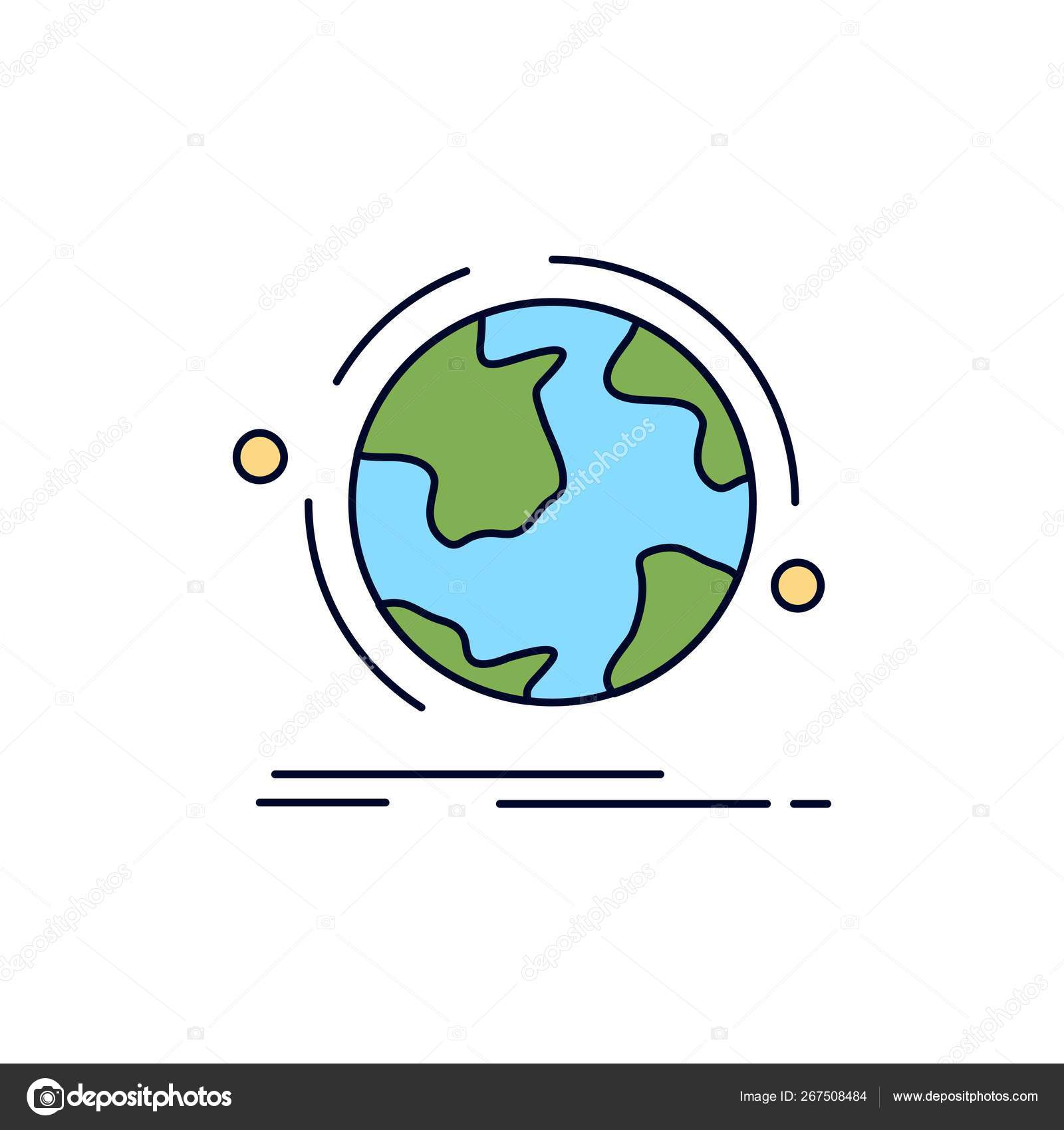 Globe World Discover Connection Network Flat Color Icon Vect Stock Vector C Flatart 267508484