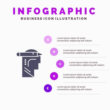 Head, Mind, Thinking, Write Solid Icon Infographics 5 Steps Pres