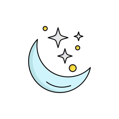 Moon, Night, star, weather, space Flat Color Icon Vector