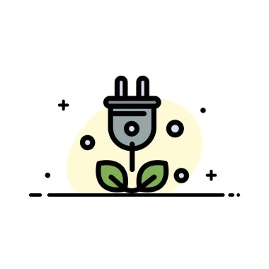 Plug, Tree, Green, Science  Business Flat Line Filled Icon Vecto