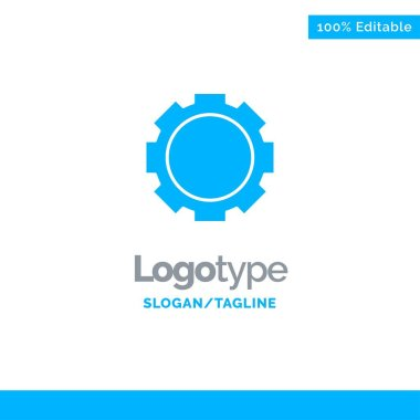 Gear, Setting, Instagram Blue Solid Logo Template. Place for Tagline