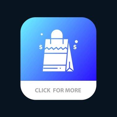 Bag, Handbag, Usa, American Mobile App Button. Android and IOS Glyph Version icon
