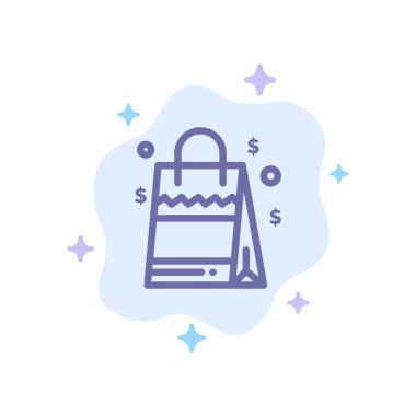 Bag, Handbag, Usa, American Blue Icon on Abstract Cloud Background icon