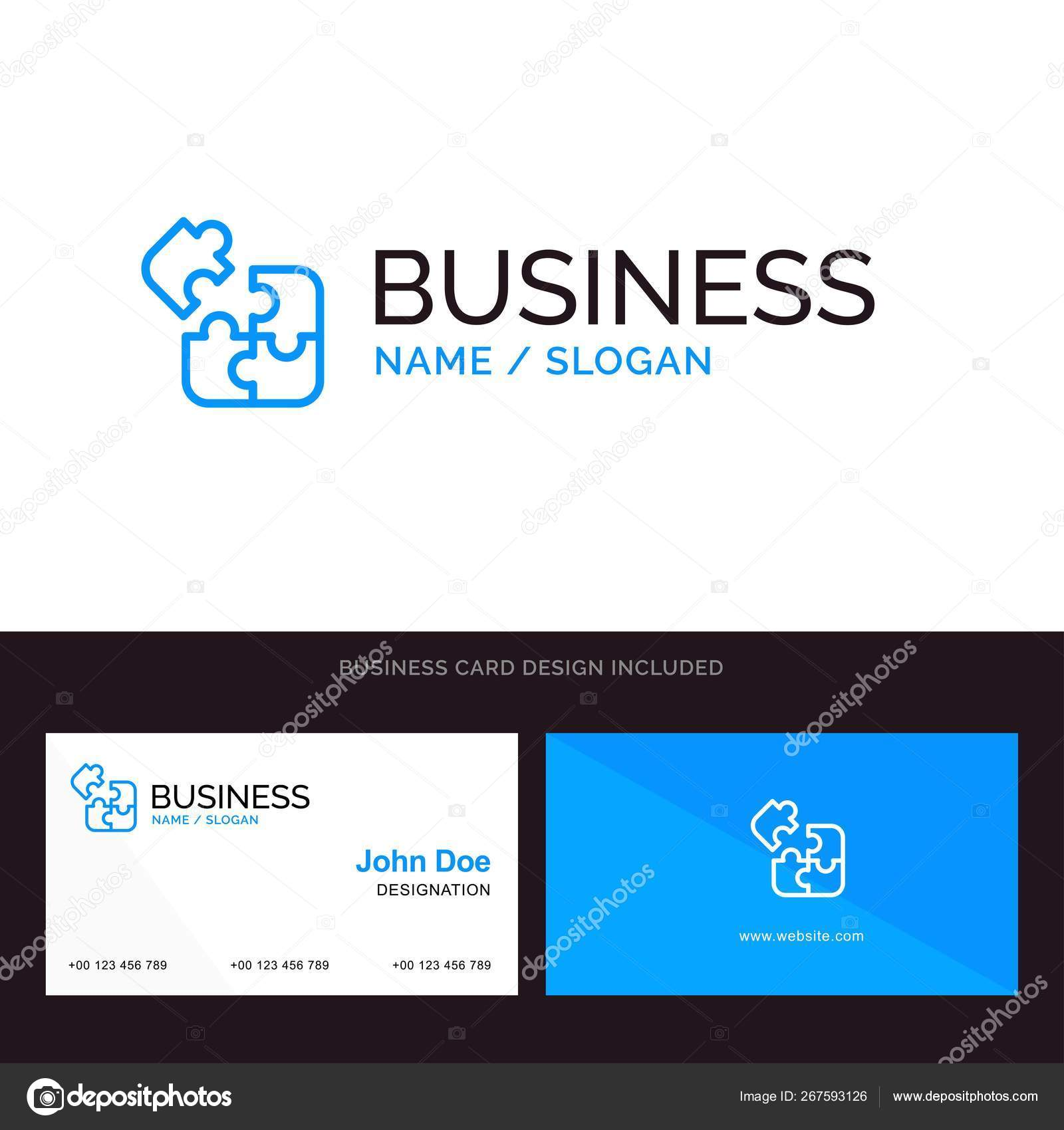 Jigsaw, Puzzle, Science, Solution Blue Business logo and