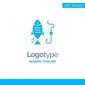 Šablona pro lov, ryby, hák, modrý symbol obchodního loga