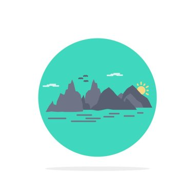 Mountain, hill, landscape, nature, cliff Flat Color Icon Vector