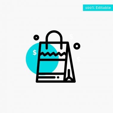 Bag, Handbag, Usa, American turquoise highlight circle point Vector icon icon