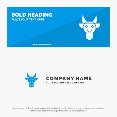 Adornment, Animals, Bull, Indian, Skull SOlid Icon Website Banne