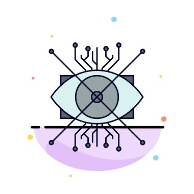 Ar, augmentation, cyber, eye, lens Flat Color Icon Vector