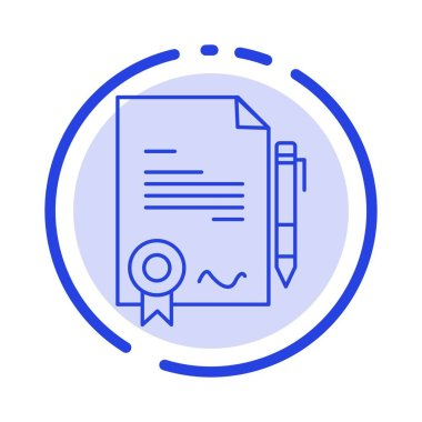 Agreement, Certificate, Done, Deal Blue Dotted Line Line Icon