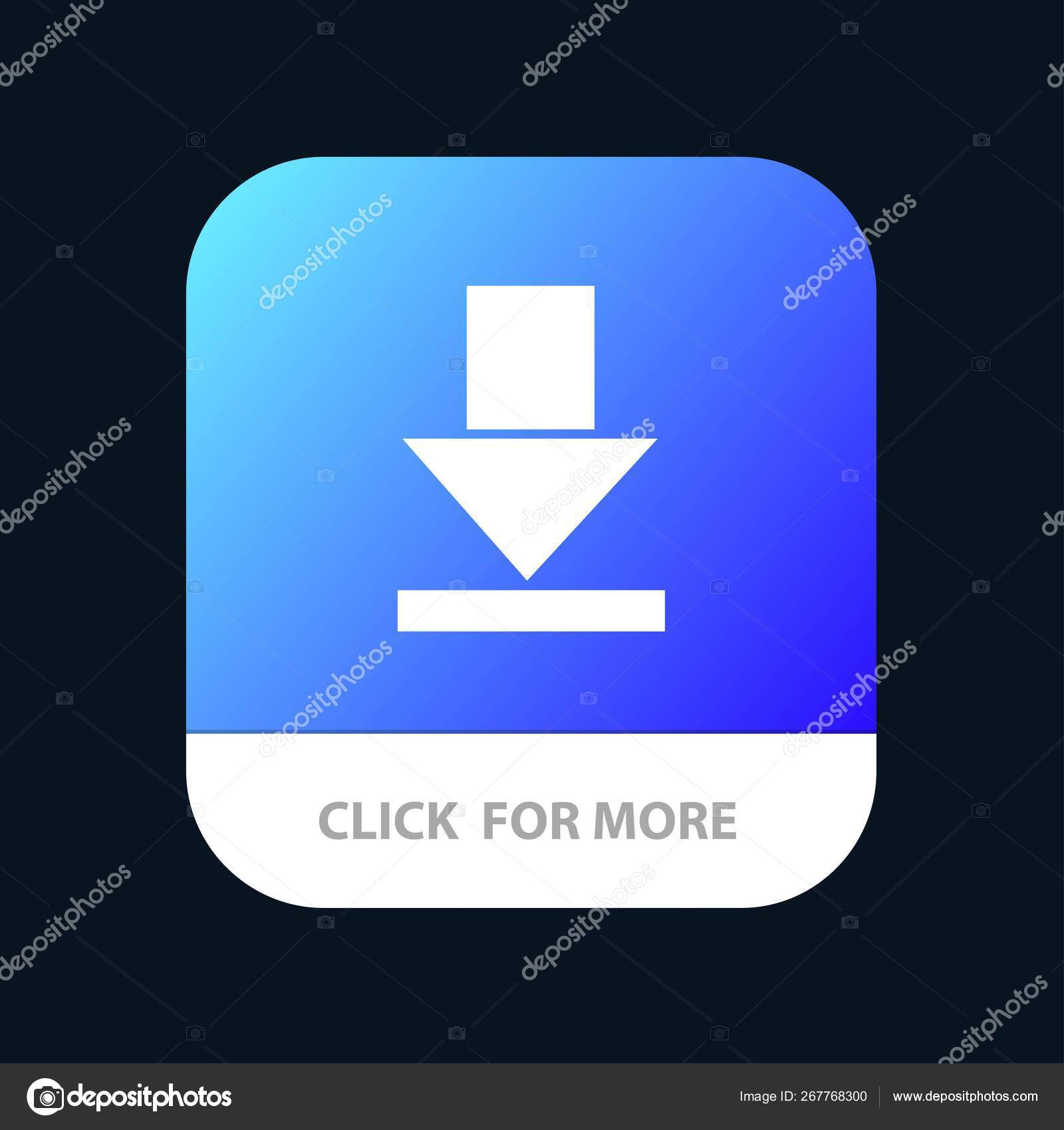 Arrow, Dawn, Download Mobile App Button  Android and IOS Glyph V