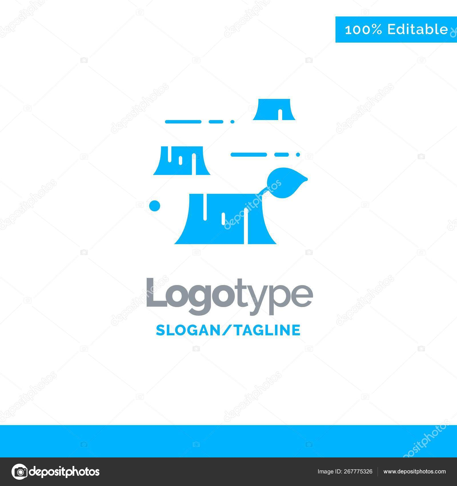 Deforestation Logo And Slogan Damage Deforestation Destruction Environment Blue Solid Logo Stock Vector C Flatart 267775326
