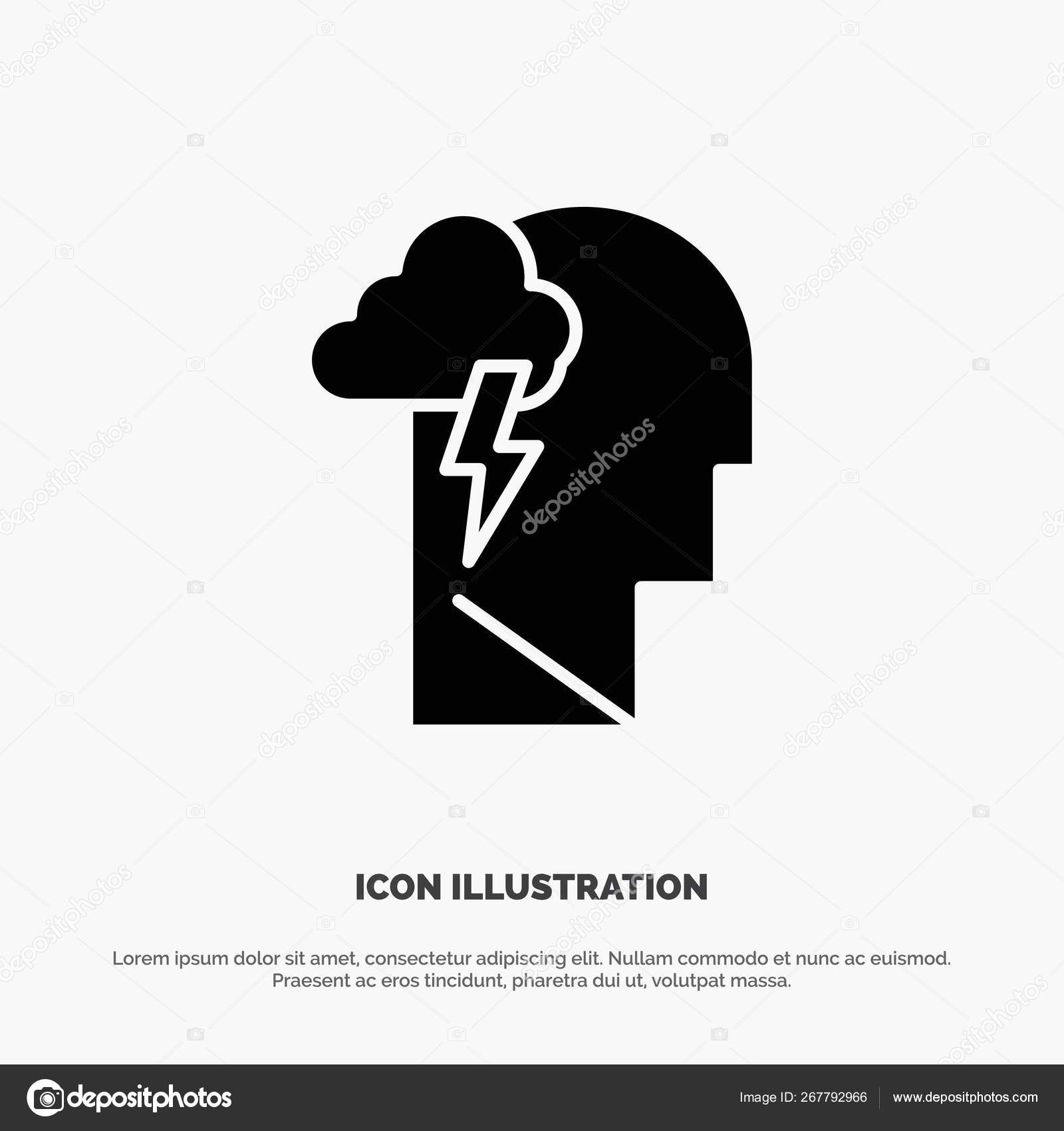 Energy, Mental, Mind, Power solid Glyph Icon vector — Stock