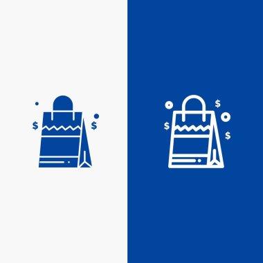 Bag, Handbag, Usa, American Line and Glyph Solid icon Blue banner Line and Glyph Solid icon Blue banner icon