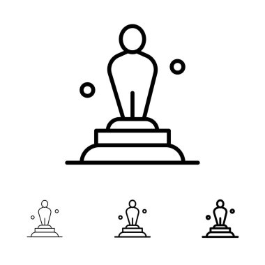 Academy, Award, Oscar, Statue, Trophy Bold and thin black line i