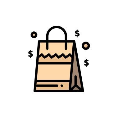 Bag, Handbag, Usa, American  Flat Color Icon. Vector icon banner Template icon