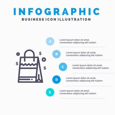 Bag, Handbag, Usa, American Line icon with 5 steps presentation infographics Background icon