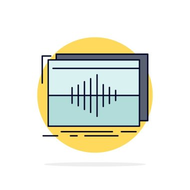 Audio, frequency, hertz, sequence, wave Flat Color Icon Vector